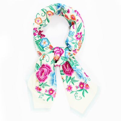 Loewe Scarf White Floral - Large Cashmere Silk Square Scarf
