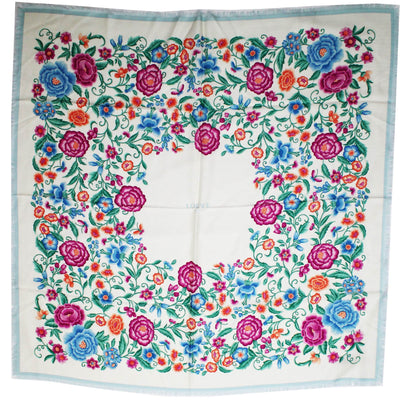 Loewe Scarf White Floral Cashmere Silk Square Scarf