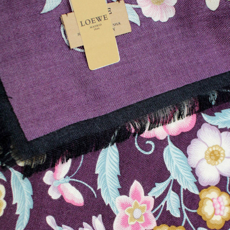 Loewe Scarf Purple Floral - Large Square Cashmere Silk Foulard