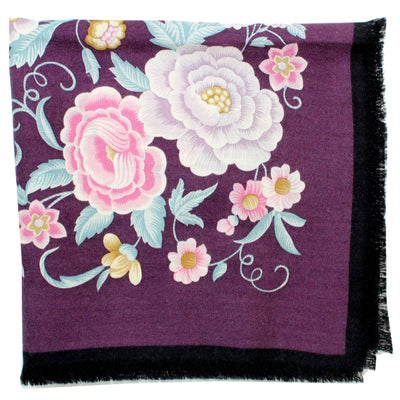 Loewe Scarf Purple Floral - Large Square Cashmere Silk Foulard SALE