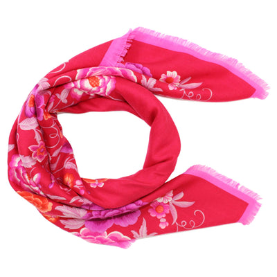 Loewe Scarf Red Pink Floral - Large Square Cashmere Silk Foulard