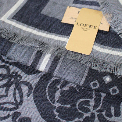 Loewe Scarf Gray Black Design - Cashmere Silk Shawl FINAL SALE