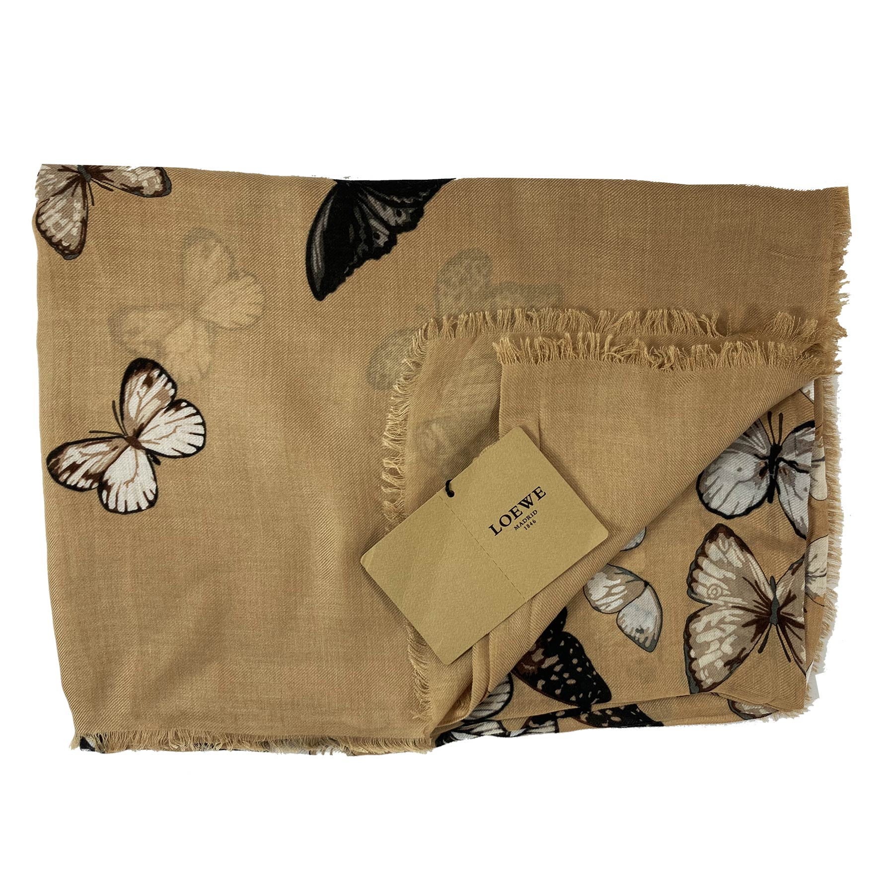 Loewe Scarf Camel Butterfly Design - Extra Large Cashmere Blend Shawl