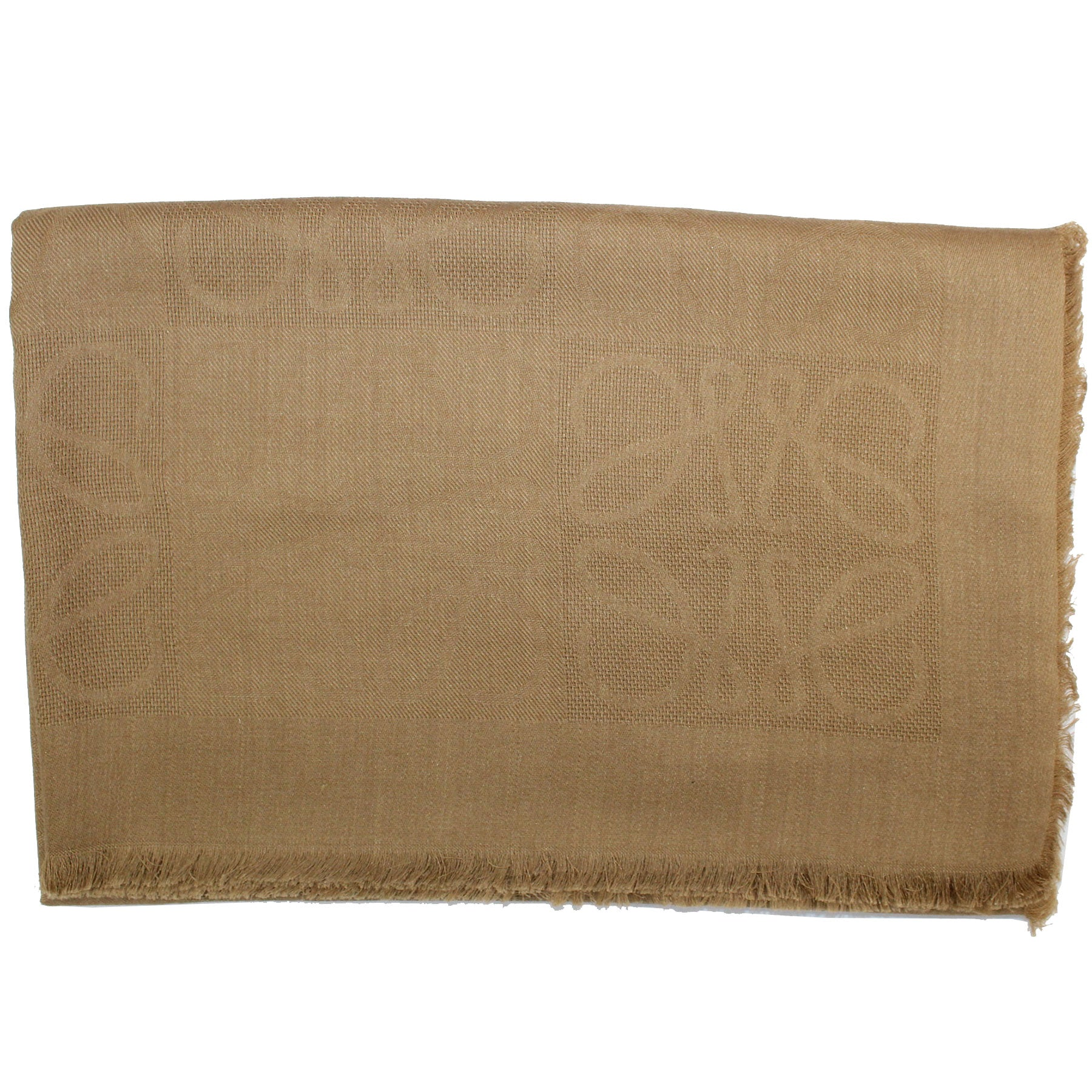 Loewe Silk Scarf Taupe Anagram Design - Large Square Scarf