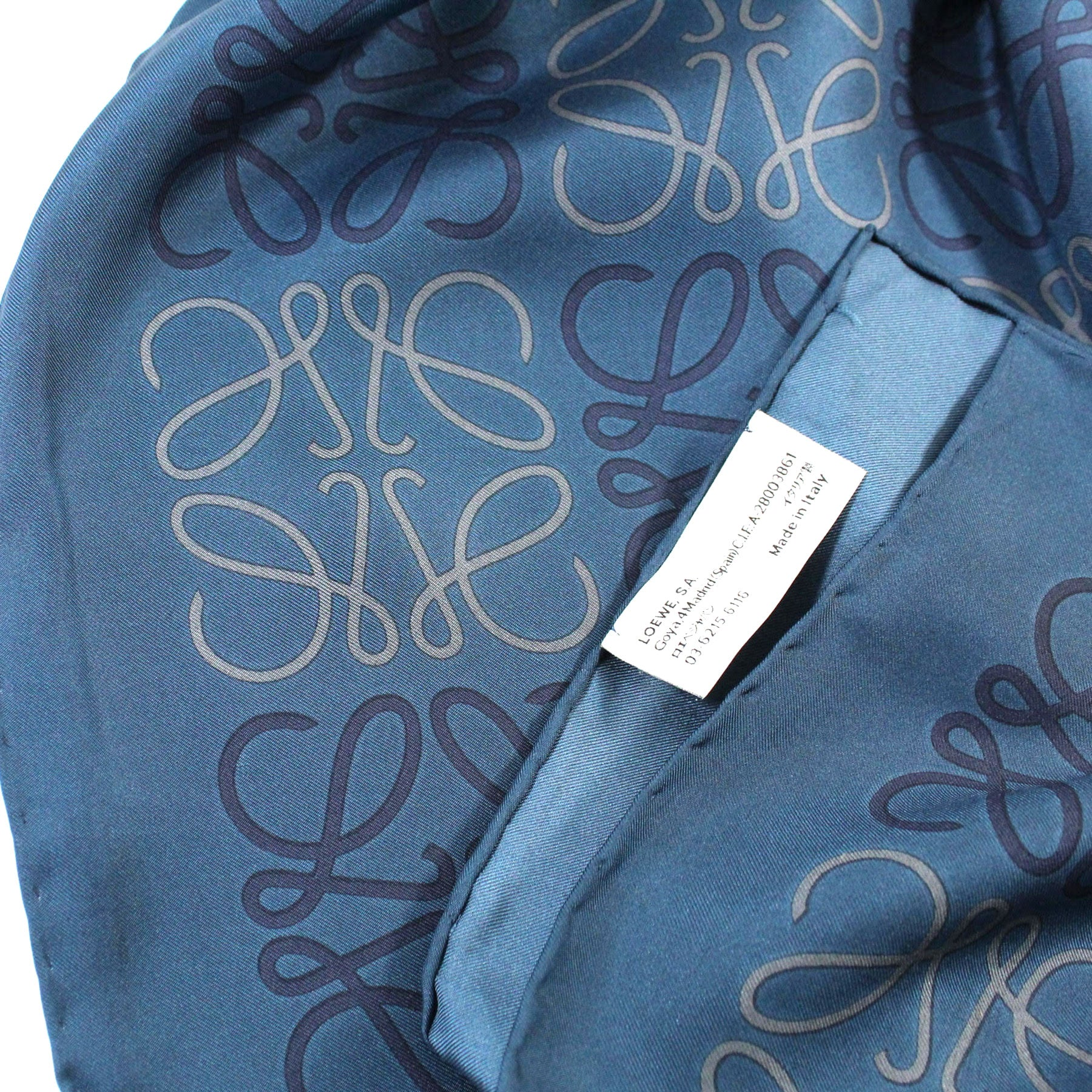 Loewe Silk Scarf Dark Blue Anagram - Large Square Scarf