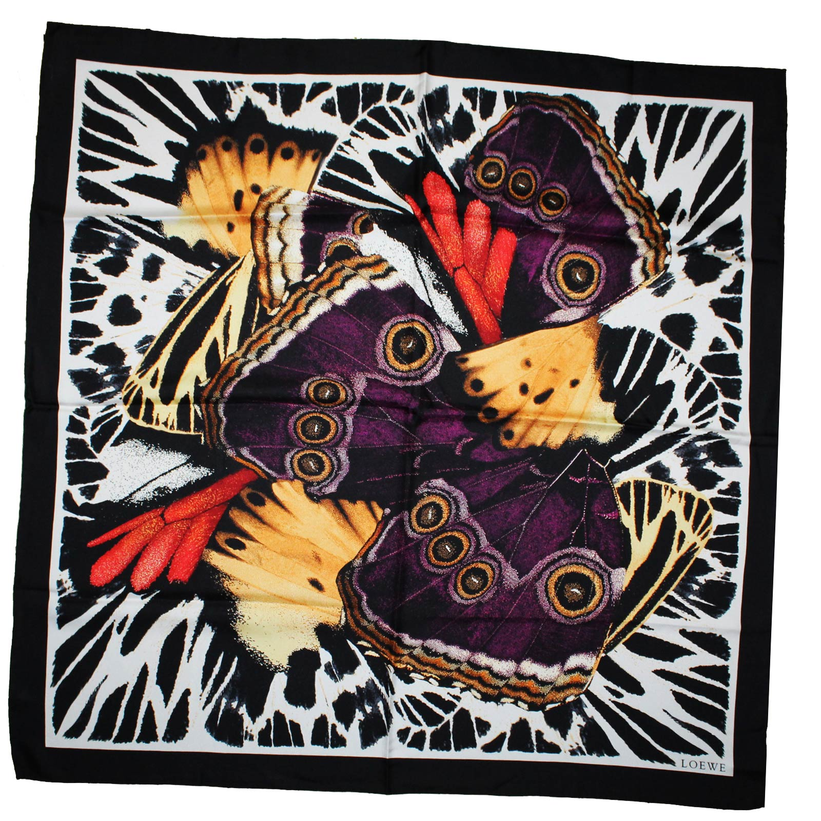 Loewe Silk Scarf Black Purple Butterfly - Large Square Scarf