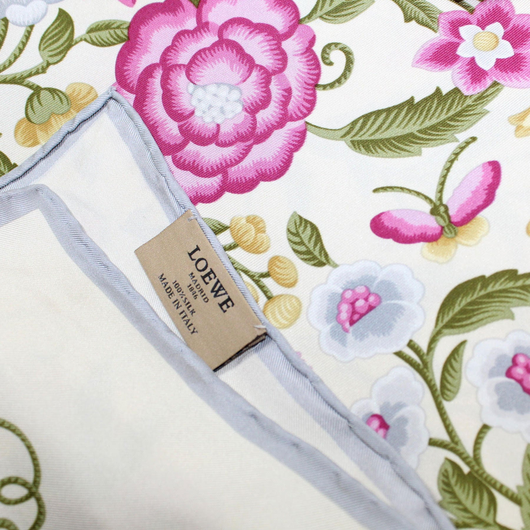 Loewe Silk Scarf Cream Pink Gray Floral - Large Square Scarf