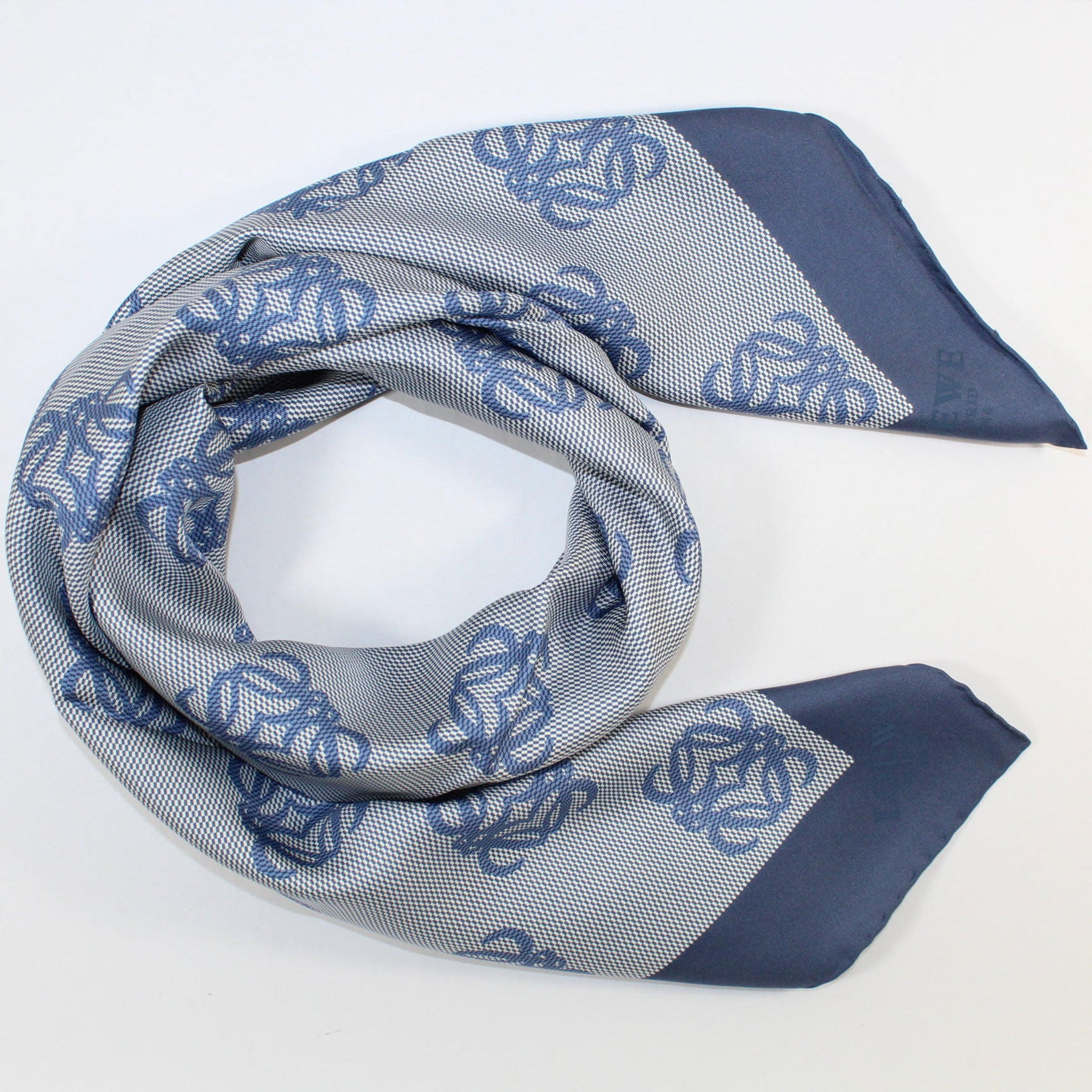Loewe Silk Scarf Metallic Blue Anagram - Large Square Scarf