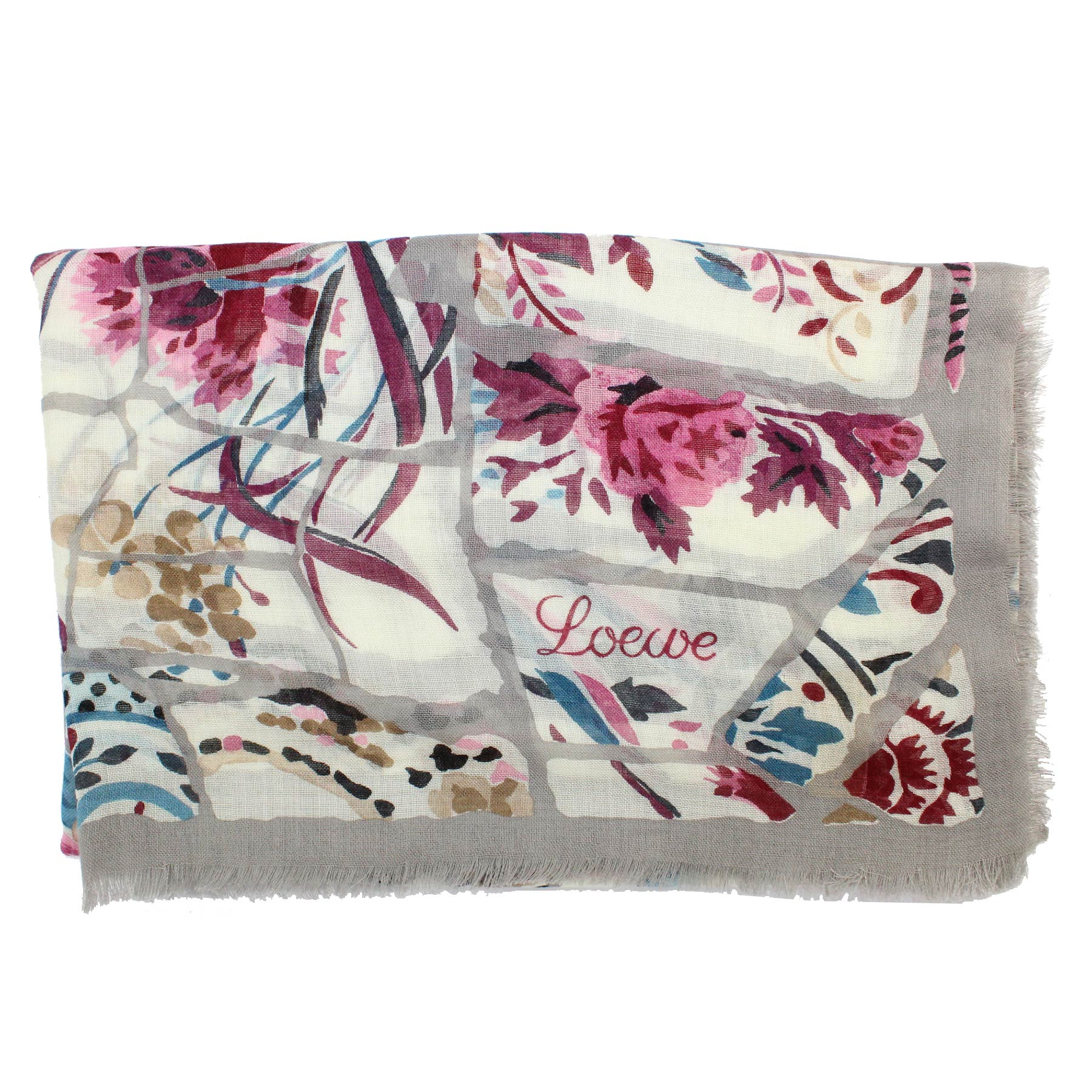 Loewe Scarf White Gray Pink Blue Floral