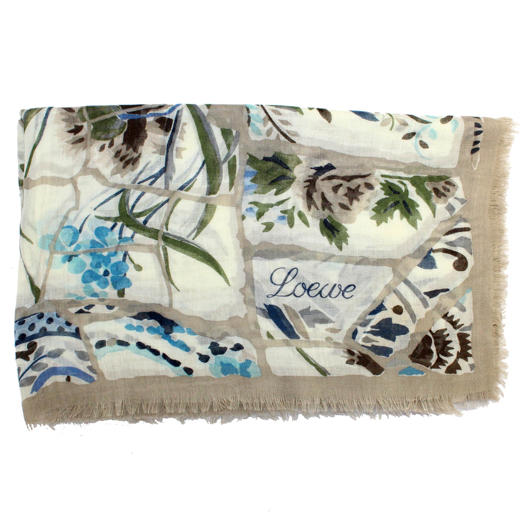 Loewe Scarf White Taupe Blue Green
