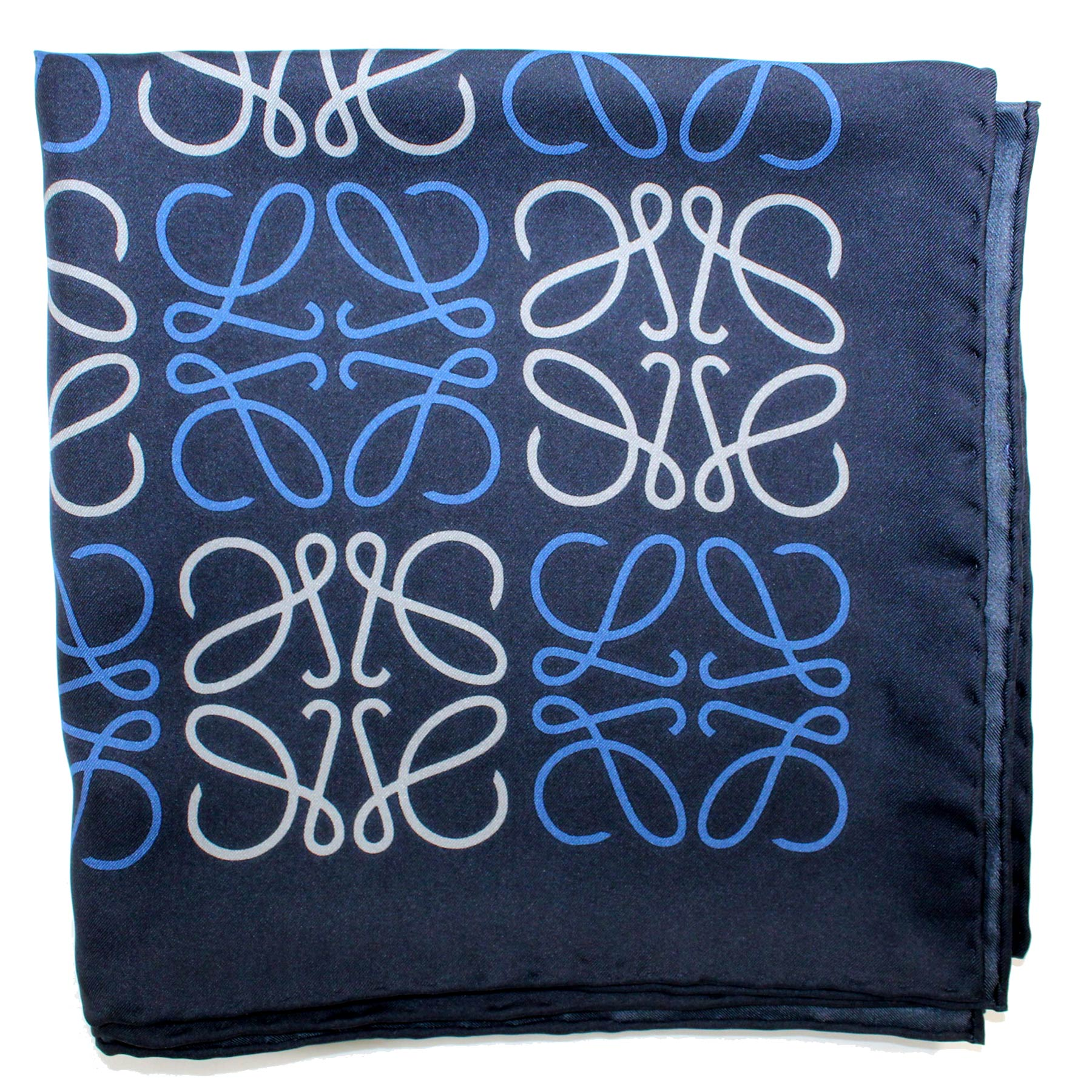Loewe Scarf Navy Blue Anagram - Large Twill Silk Square Scarf