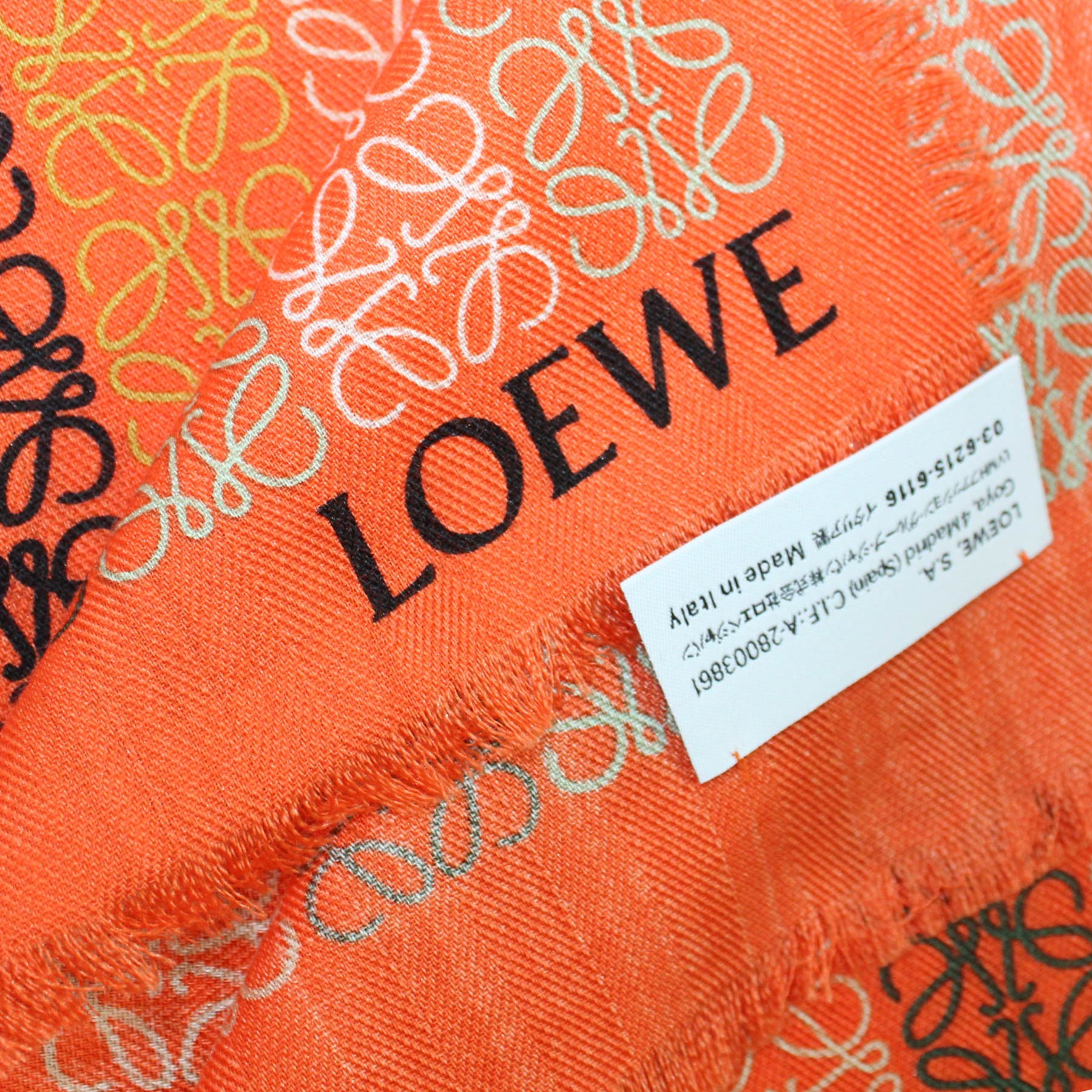 Loewe Scarf Orange Signature Anagram