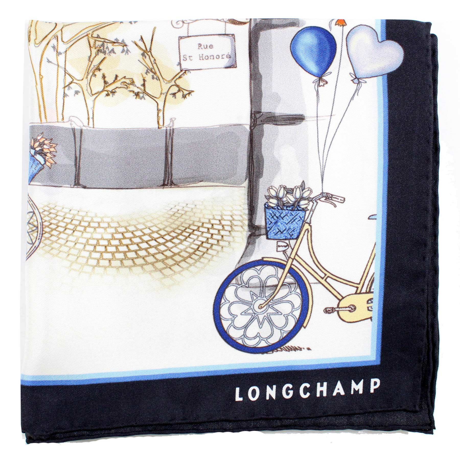Longchamp Scarf Navy Blue Bikes  Balloons - Large Twill Silk Square Scarf