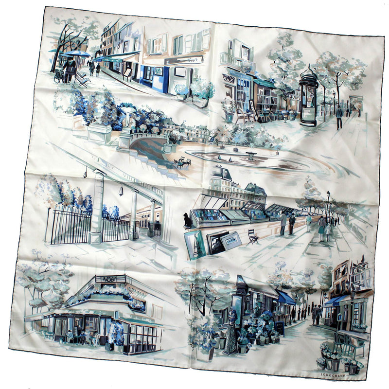 Longchamp Scarf Ceylon Green Blue Promenade A Paris - Large Twill Silk Square Scarf