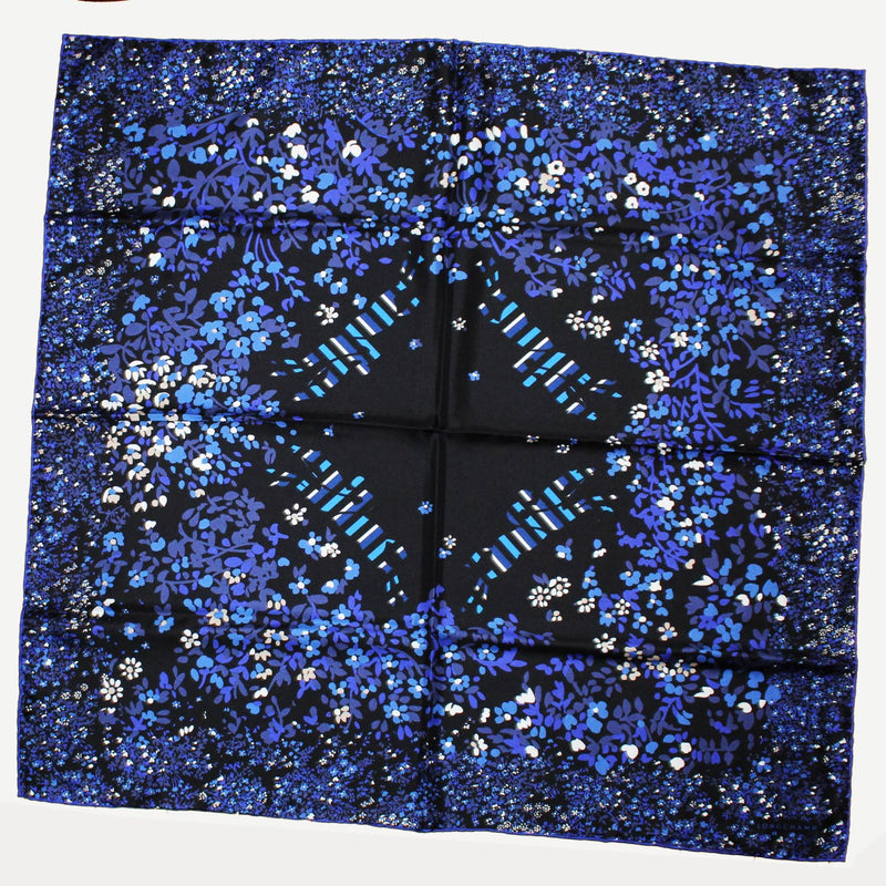 New Longchamp Scarf Royal Blue Purple Floral