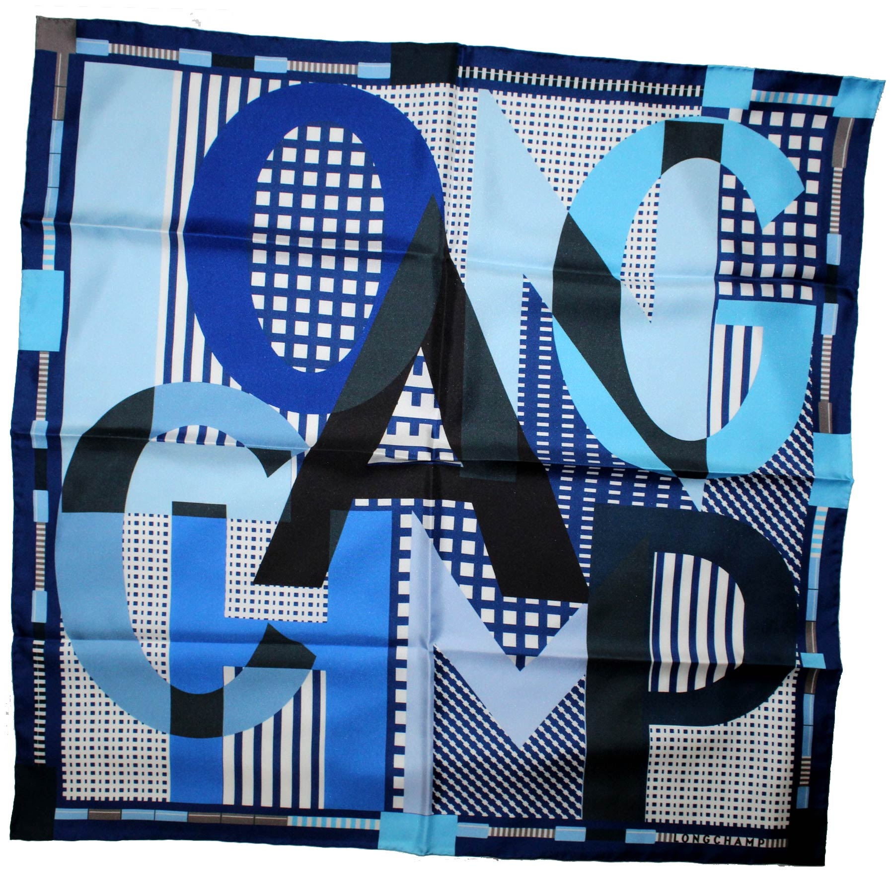 Longchamp Scarf Blue Logo Design - Medium Square Twill Silk Foulard SALE
