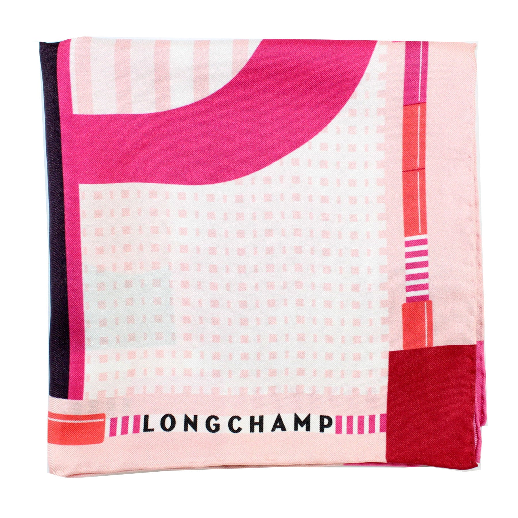 Longchamp Scarf Fuchsia Pink Red Logo Design - Medium Square Twill Silk Foulard SALE