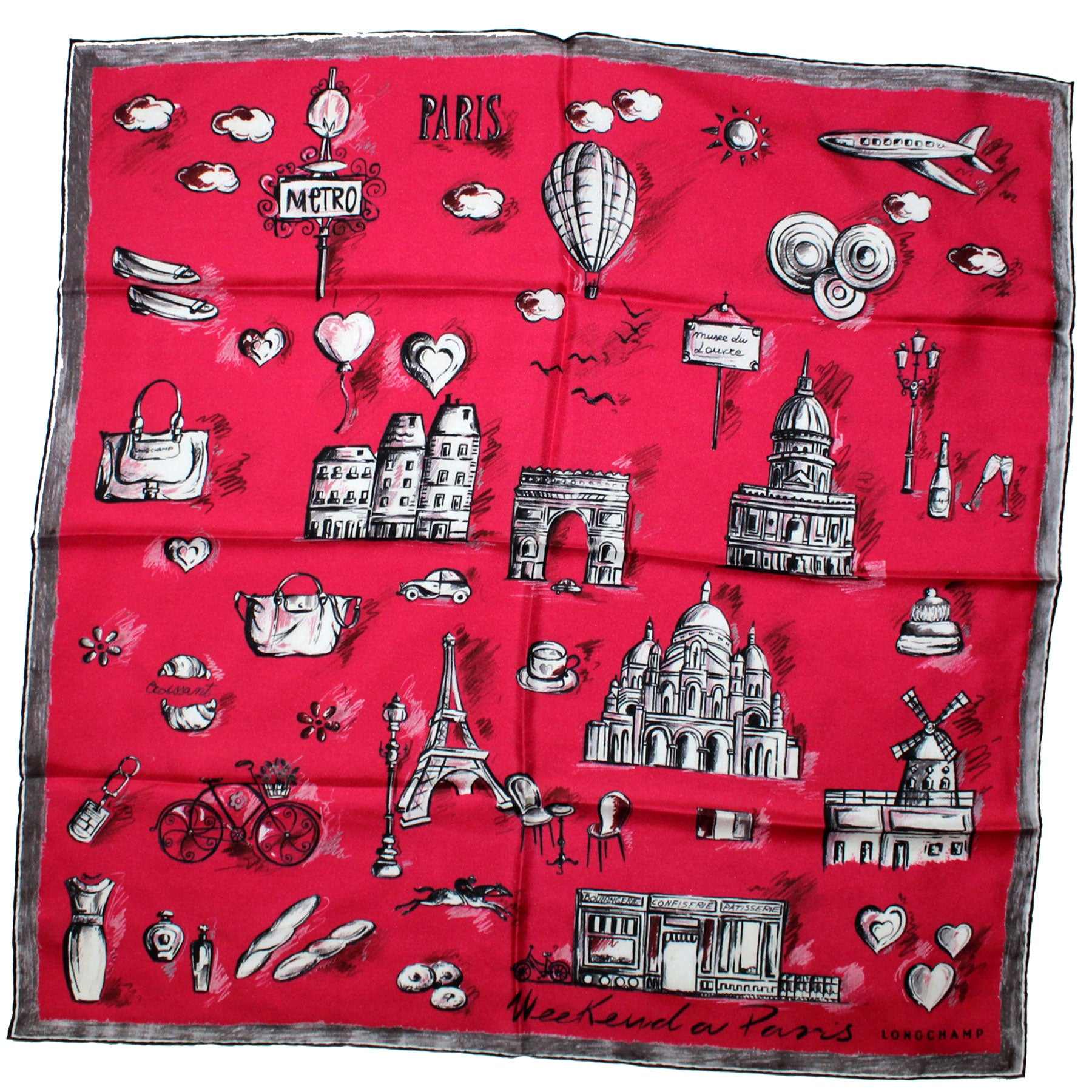Longchamp Scarf Fuchsia Weekend a Paris Design - Medium Square Twill Silk Foulard SALE