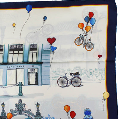 Longchamp Scarf Navy Red Orange Bikes & Balloons - Large Twill Silk Square Scarf SALE