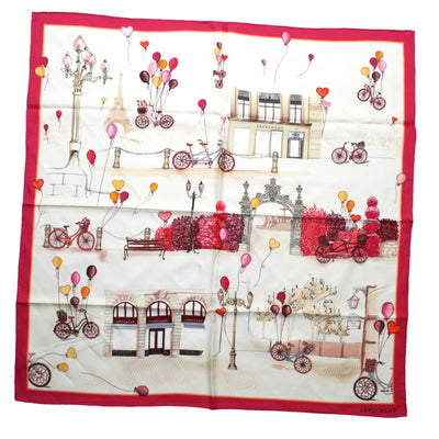 Longchamp Scarf Fuchsia Red Bikes & Balloons - Large Twill Silk Square Scarf SALE