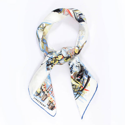 Longchamp Scarf Promenade A Paris White Royal Blue - Large Twill Silk Square Scarf