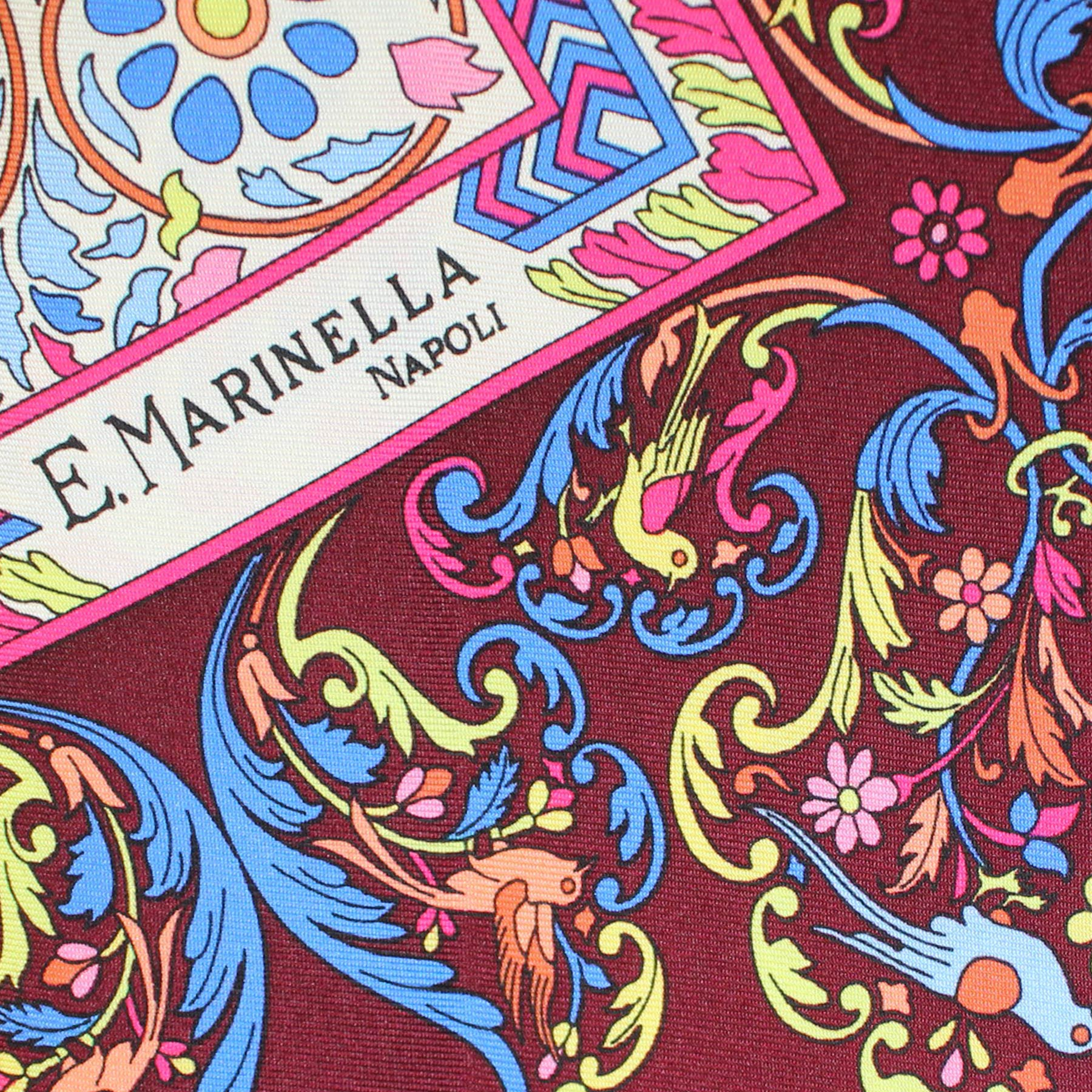 E. Marinella Scarf Bird Floral - Large Twill Silk Square Foulard