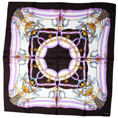 Marina Rinaldi Scarf Brown Lilac Gold Design - Large Twill Silk Square Scarf SALE