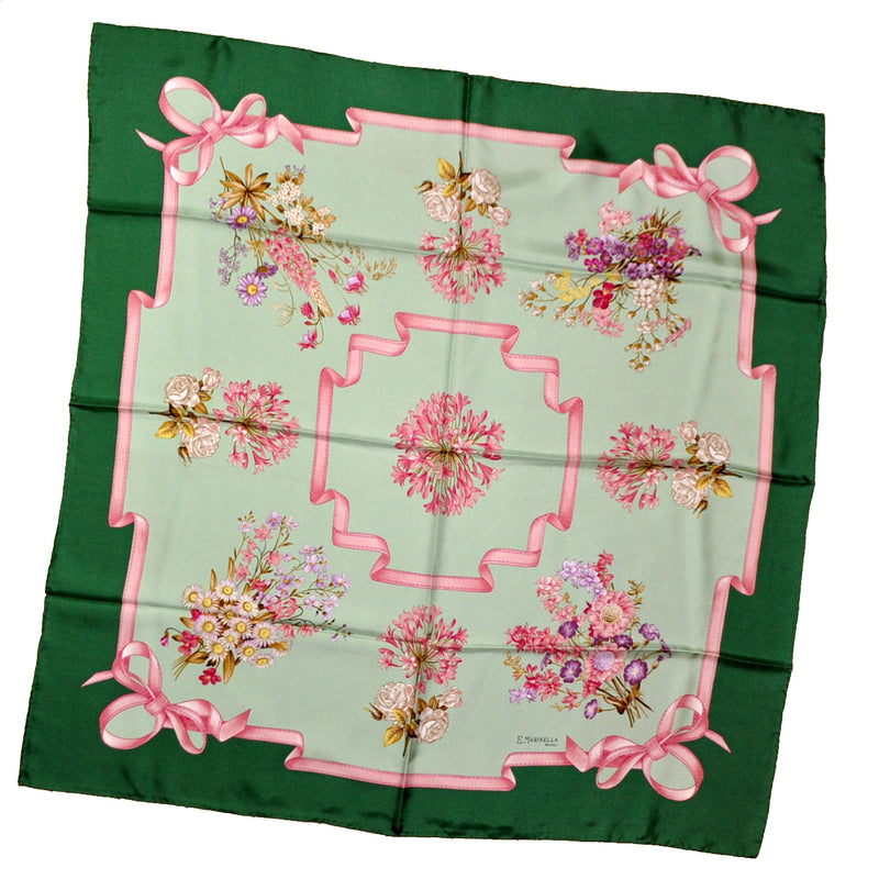 Marinella Scarf Green Pink Floral Silk Square Scarf
