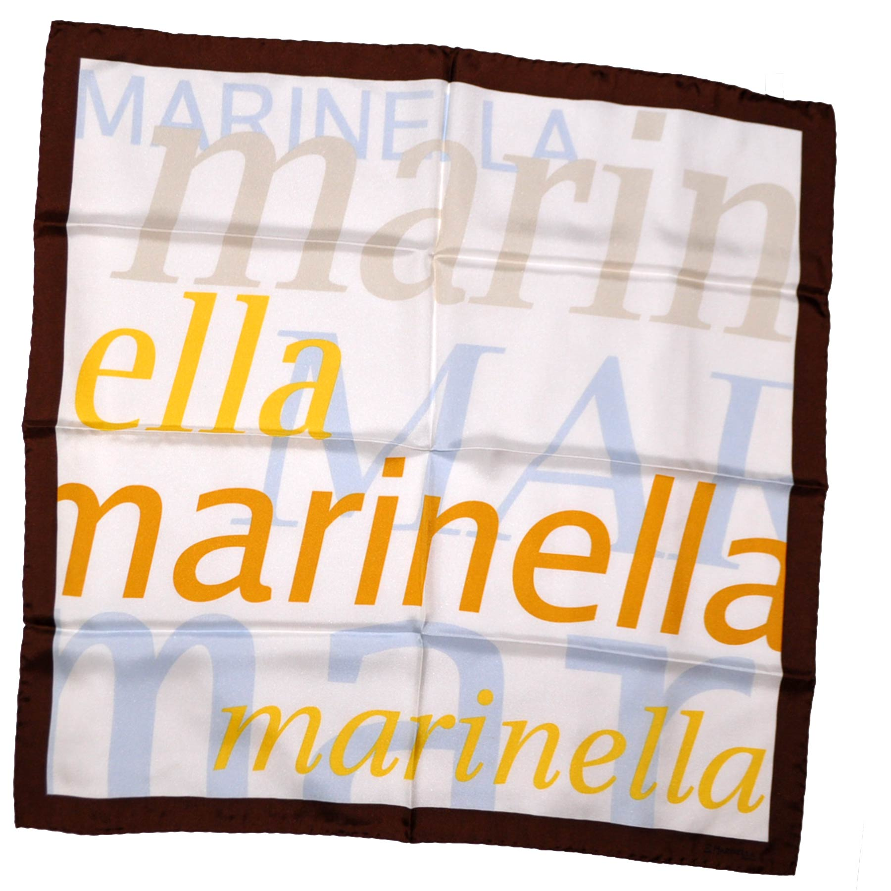 Marinella Silk Square Scarf White Cream Brown