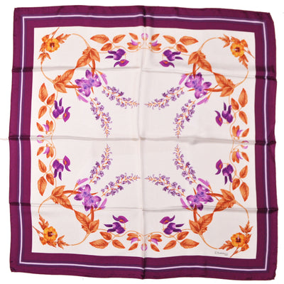 E. Marinella Silk Square Scarf Purple Orange-Gold Flora