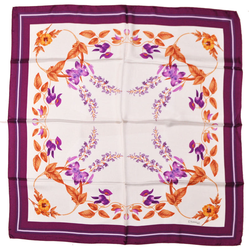 E. Marinella Silk Square Scarf Purple Orange-Gold