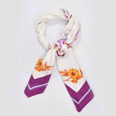 E. Marinella Silk Square Scarf Purple Orange-Gold Floral REDUCED - FINAL SALE