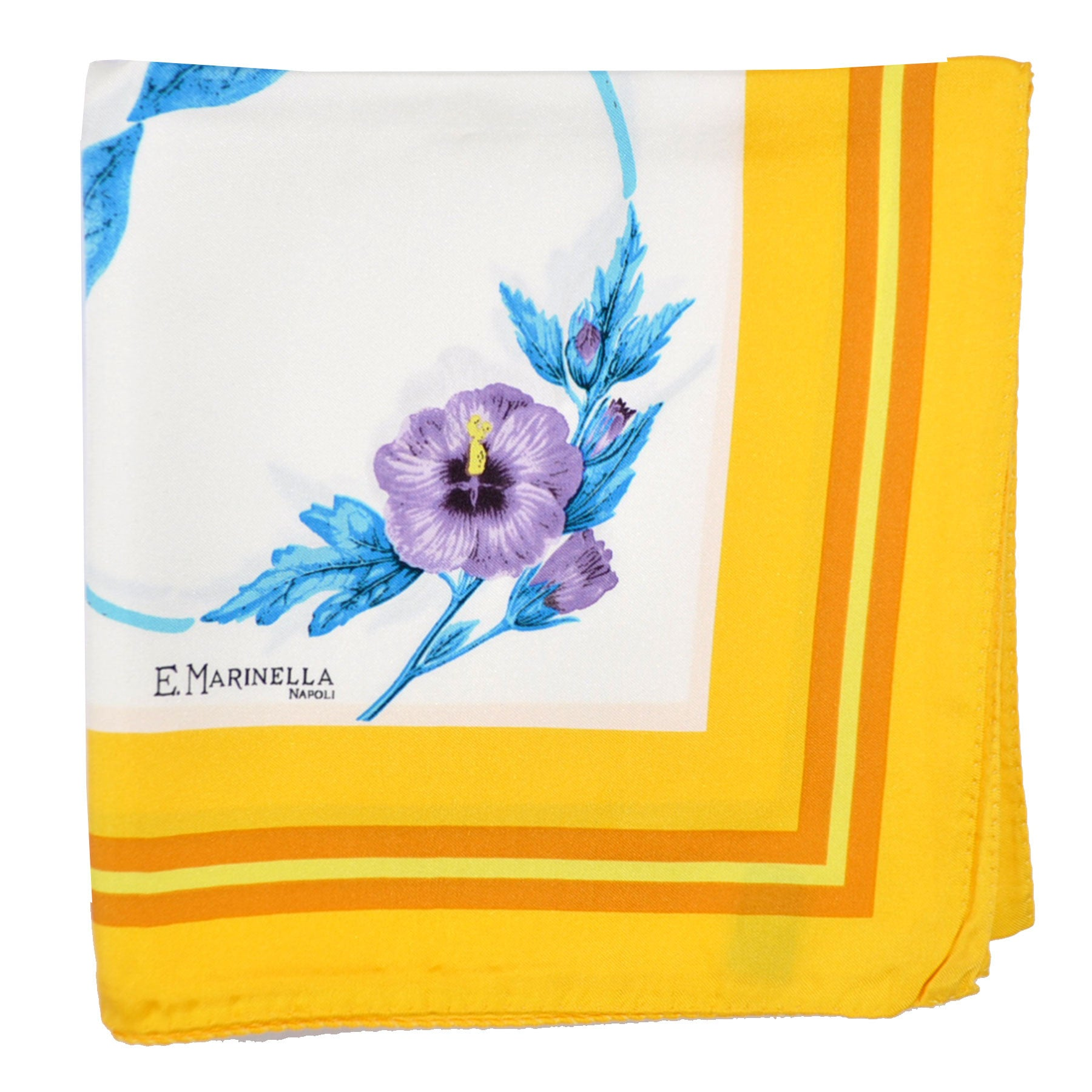 Marinella Silk Square Scarf Yellow Blue Lilac Floral