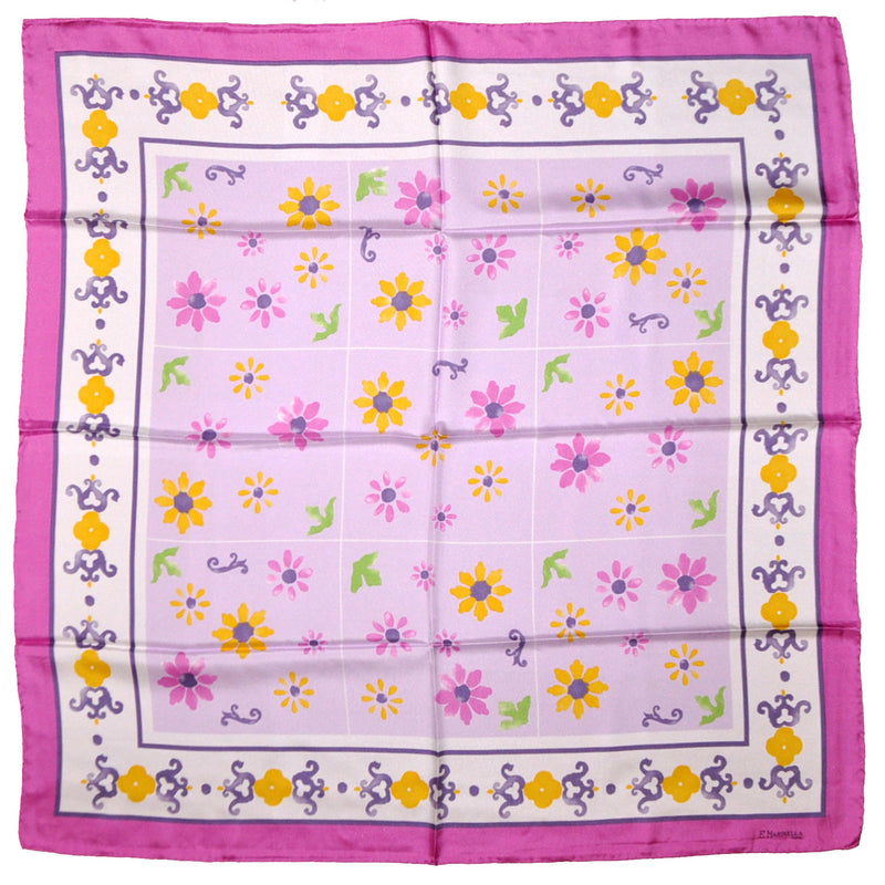 E. Marinella Silk Square Scarf Lilac Pink Mustard Flowers - FINAL SALE