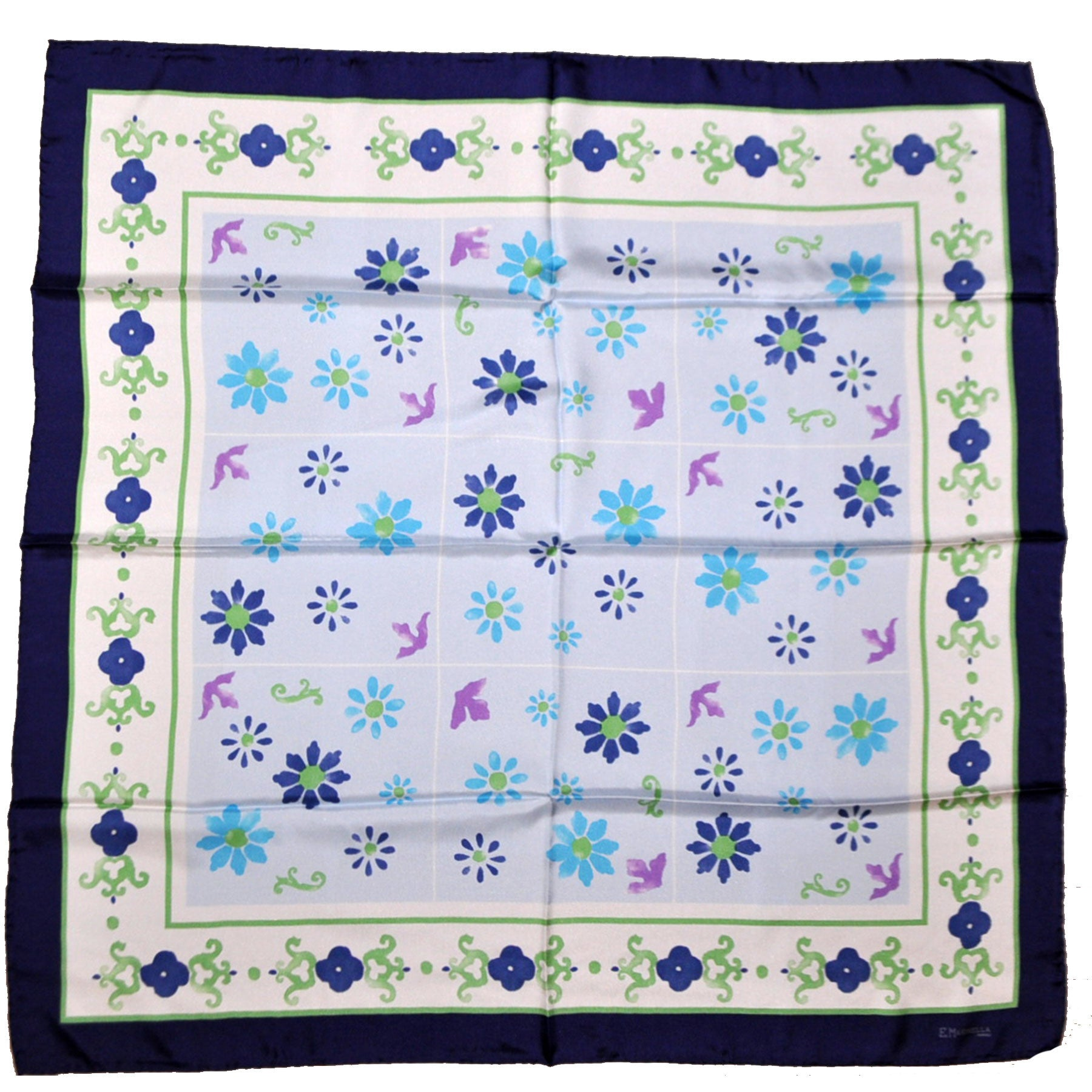 Marinella Silk Square Scarf Navy Sky Blue Green Flowers