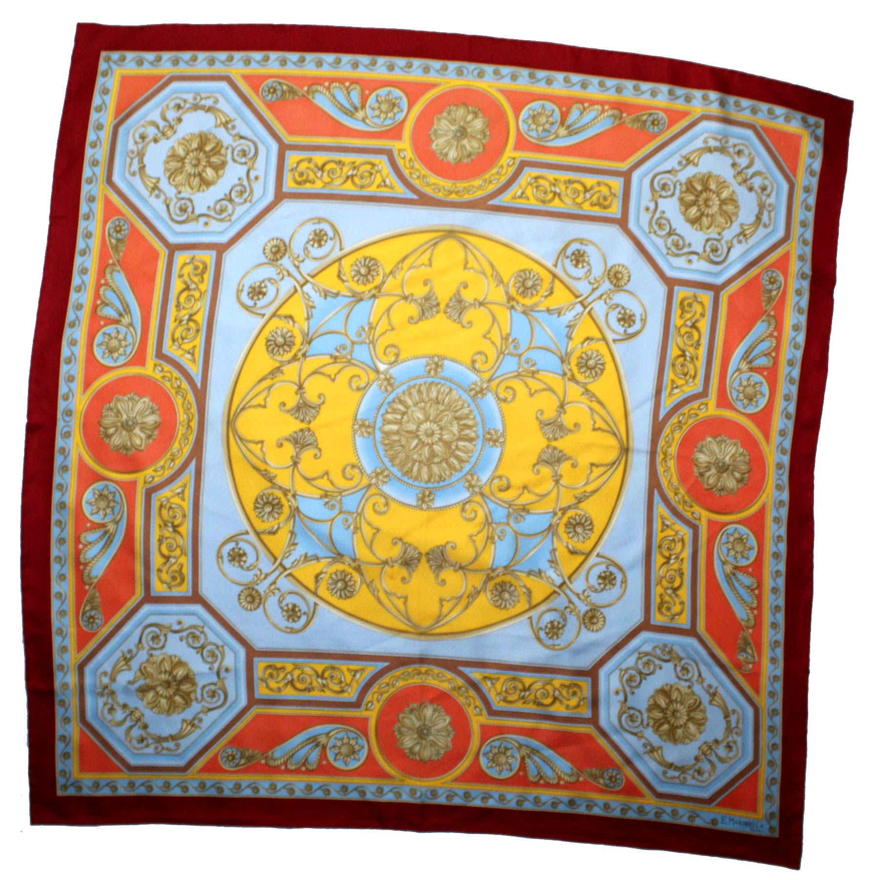 Marinella Scarf Fire Red Orange Blue Yellow Design