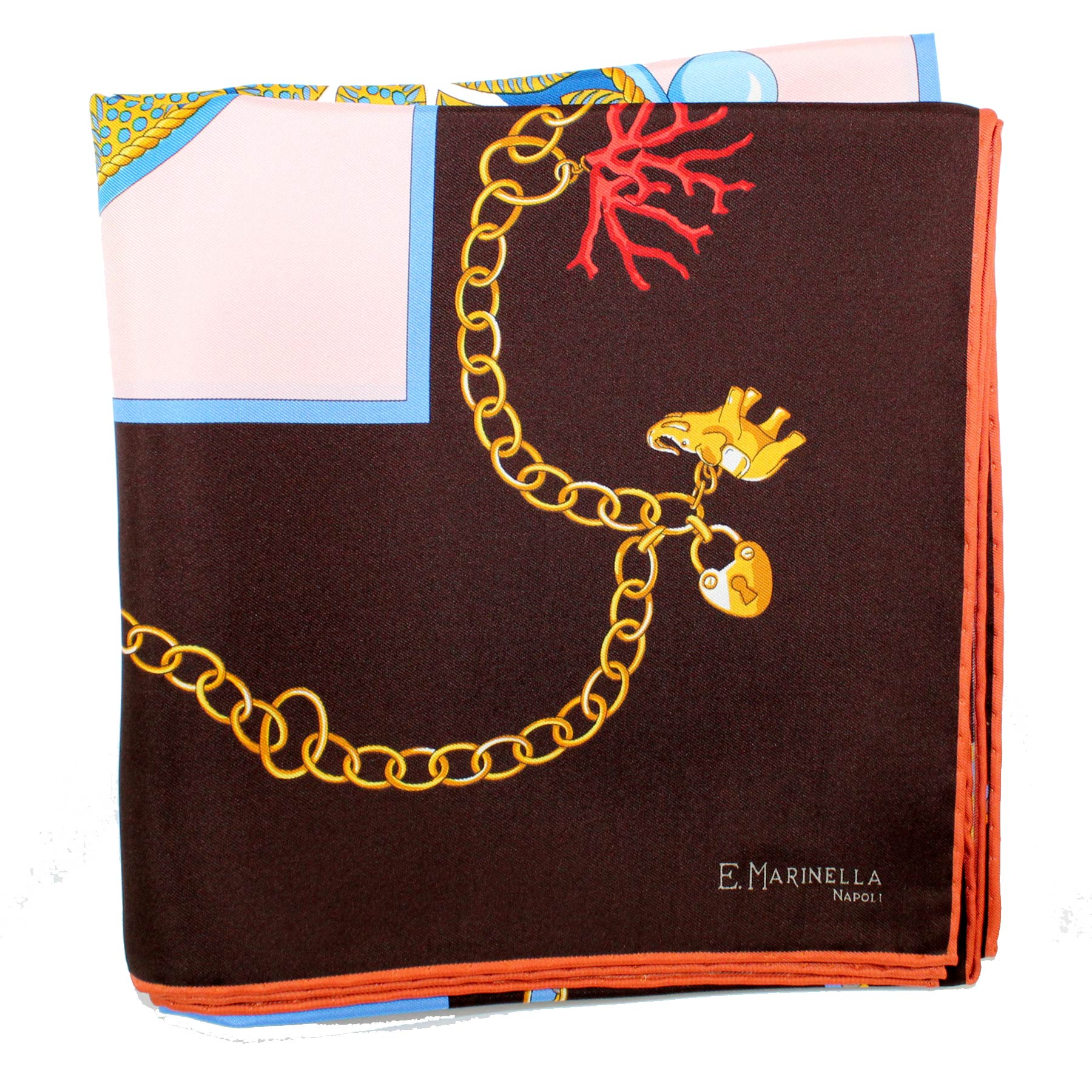 E. Marinella Scarf Brown Blue Pink