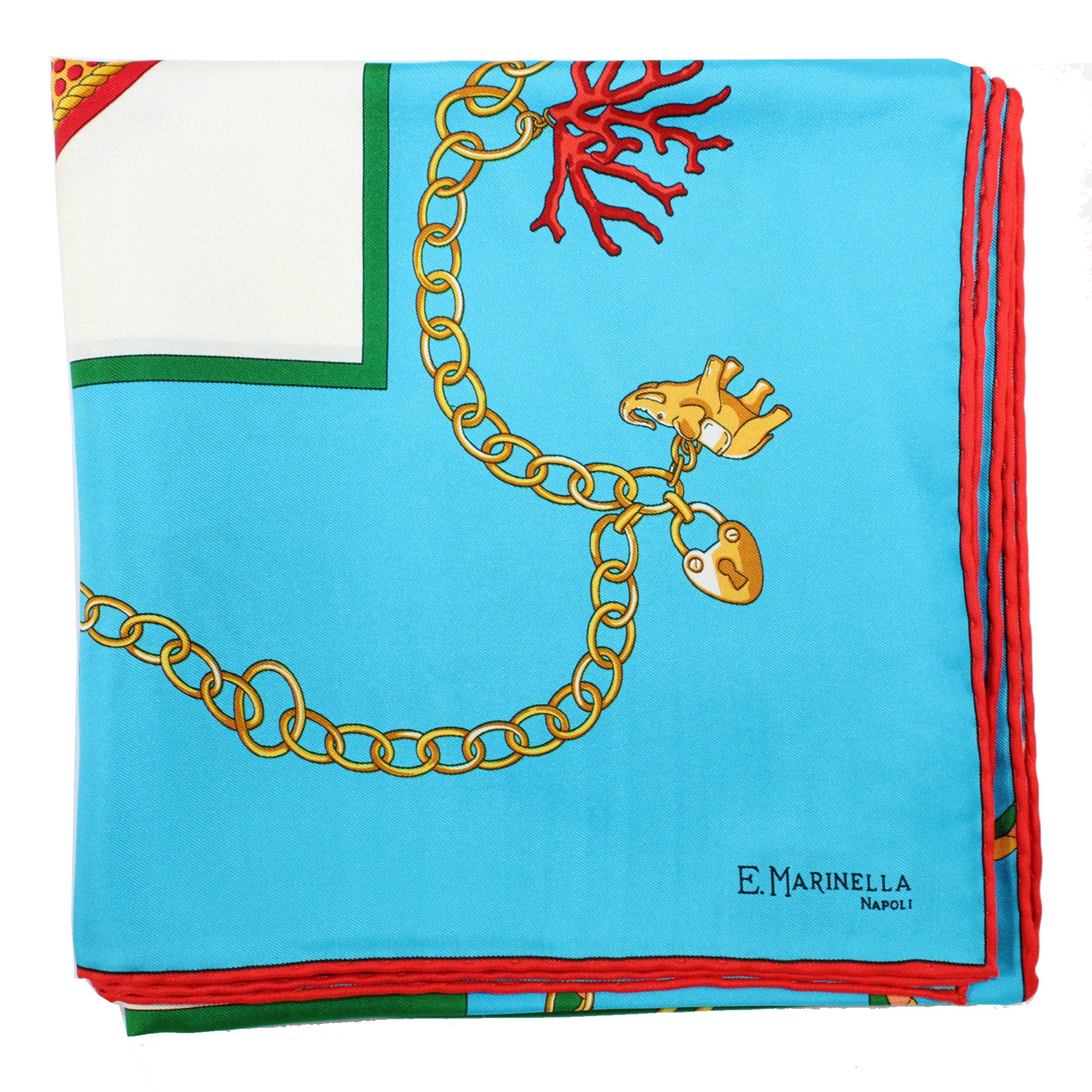 E. Marinella Scarf Aqua Red Charm Chain