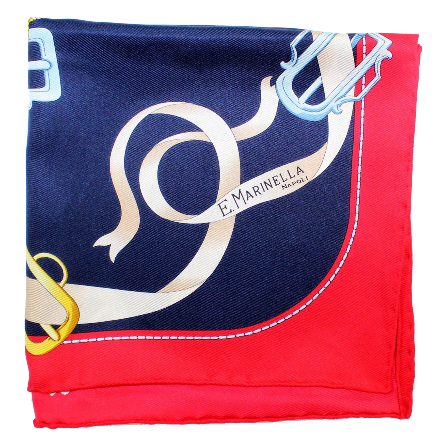 Marinella Scarf Navy Red Gold Buckles