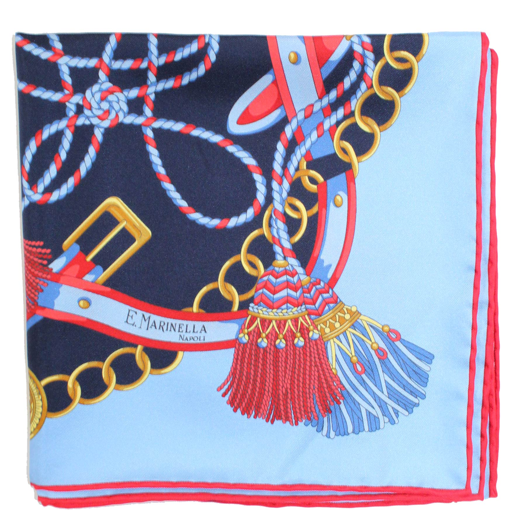 Marinella Scarf Blue Red Tassel