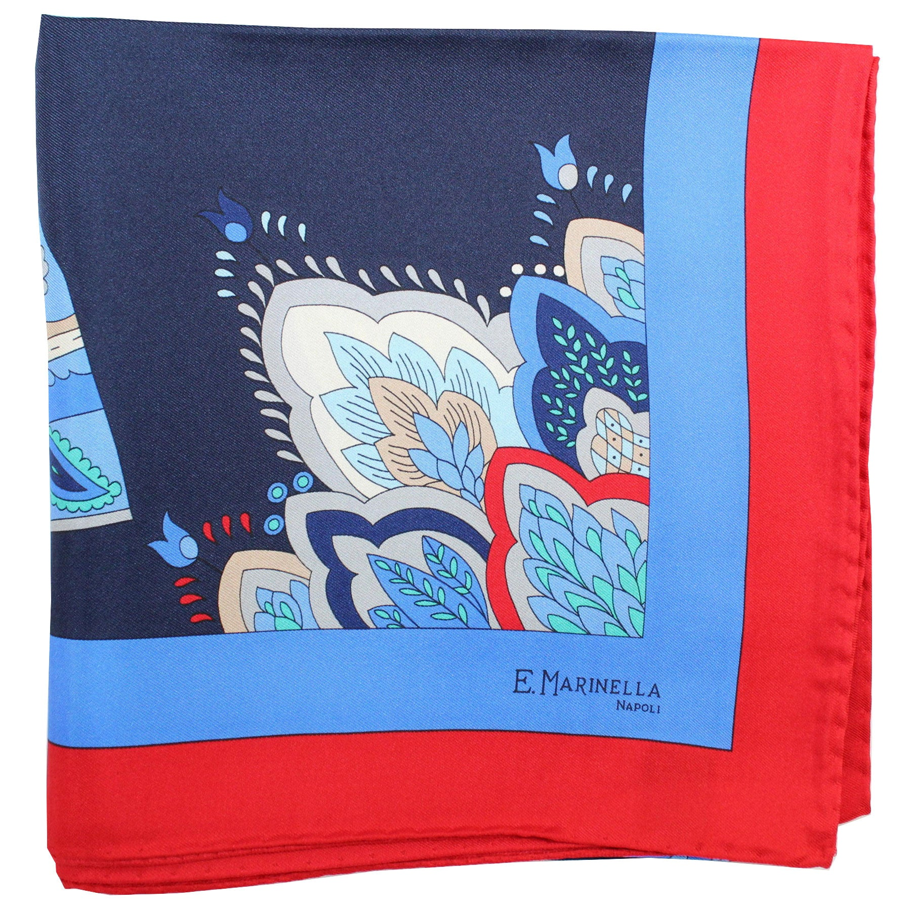 E. Marinella Scarf Navy Blue Red Fan & Tassel - Large Twill Silk Square Foulard