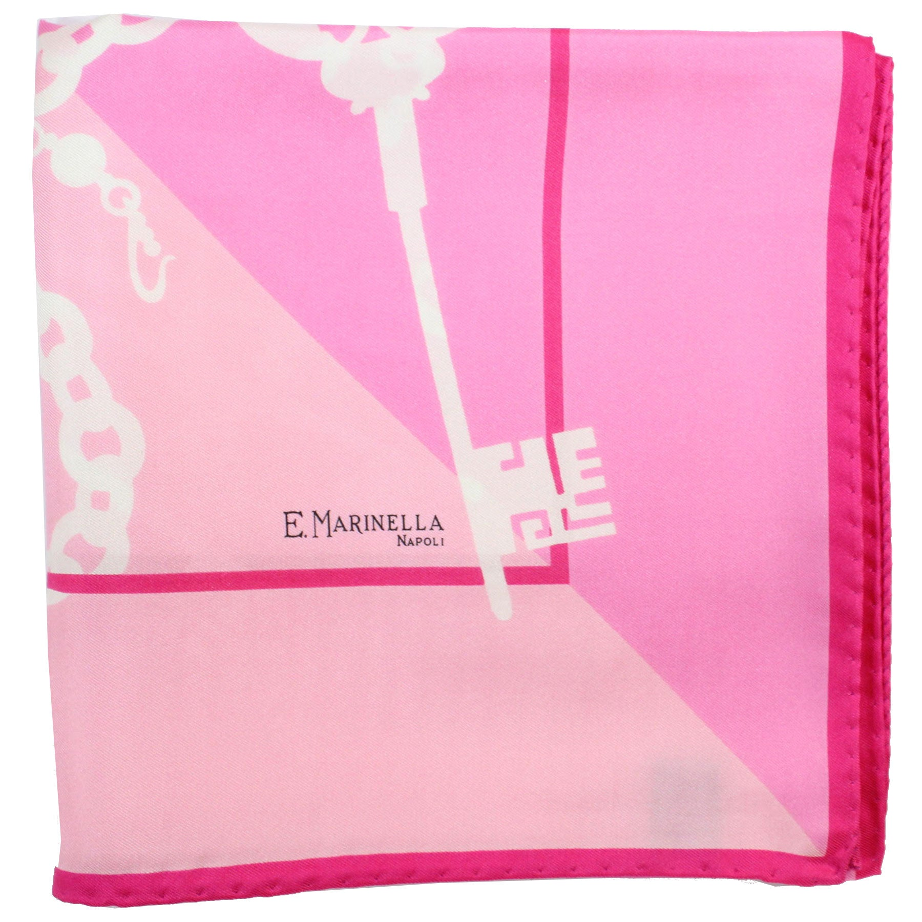 E. Marinella Scarf Pink White Key Design - Large Twill Silk Square Foulard