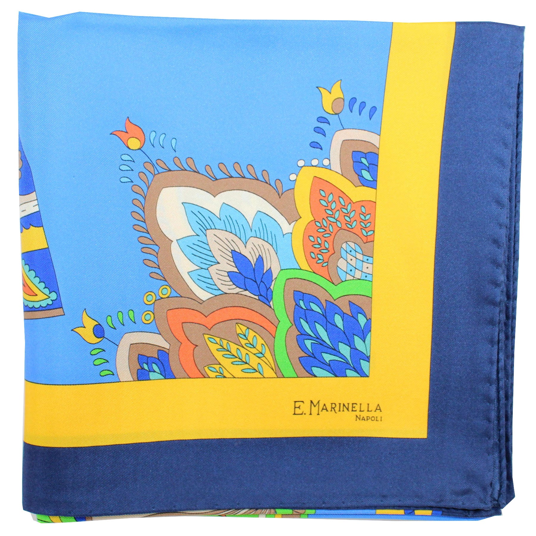E. Marinella Scarf Navy Blue Yellow Fan & Tassel - Large Twill Silk Square Foulard