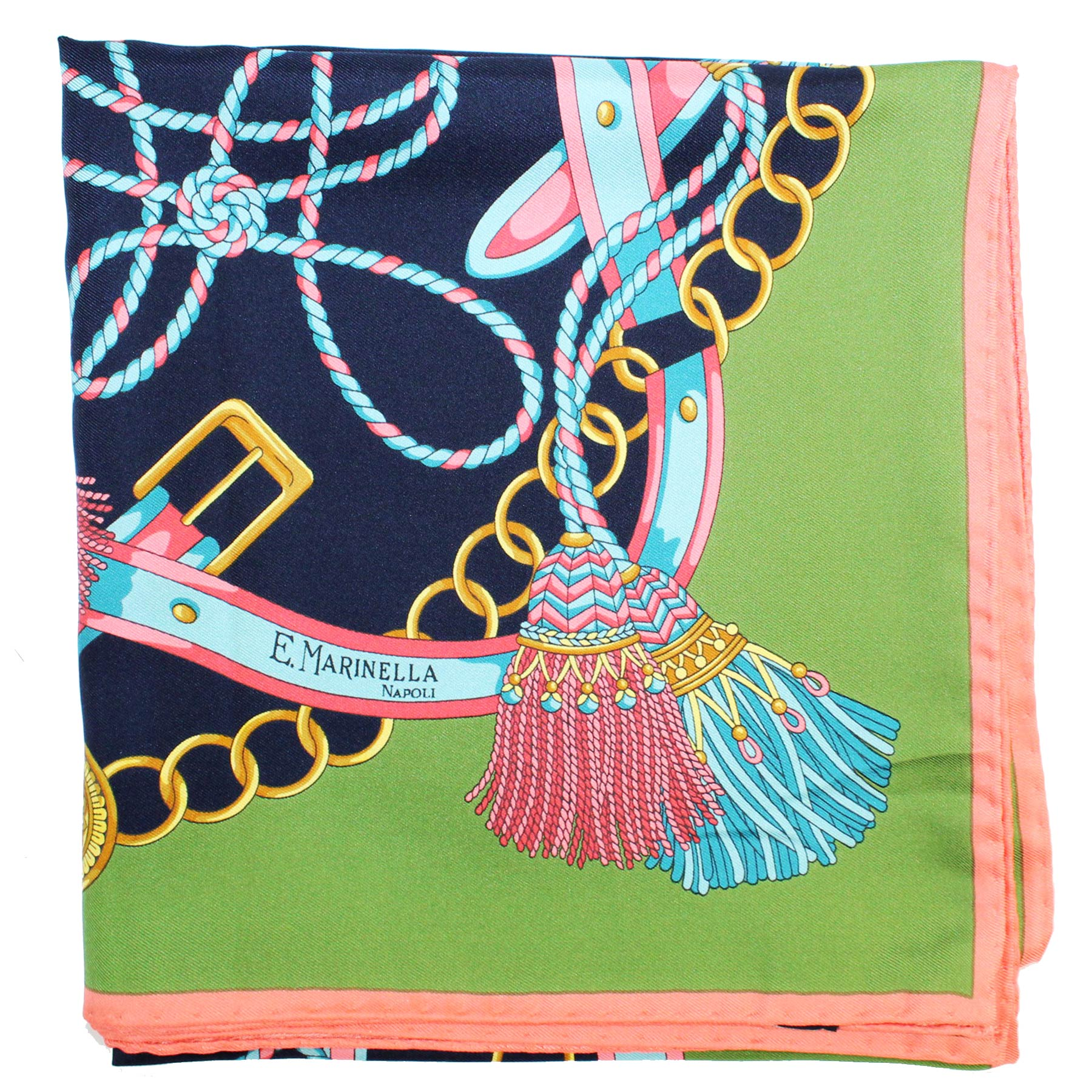 E. Marinella Scarf Navy Green Pink Belts & Tassel Design - Large Twill Silk Square Foulard