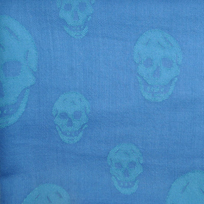 Alexander McQueen Scarf Blue Skulls - Large Wool Cotton Scarf SALE