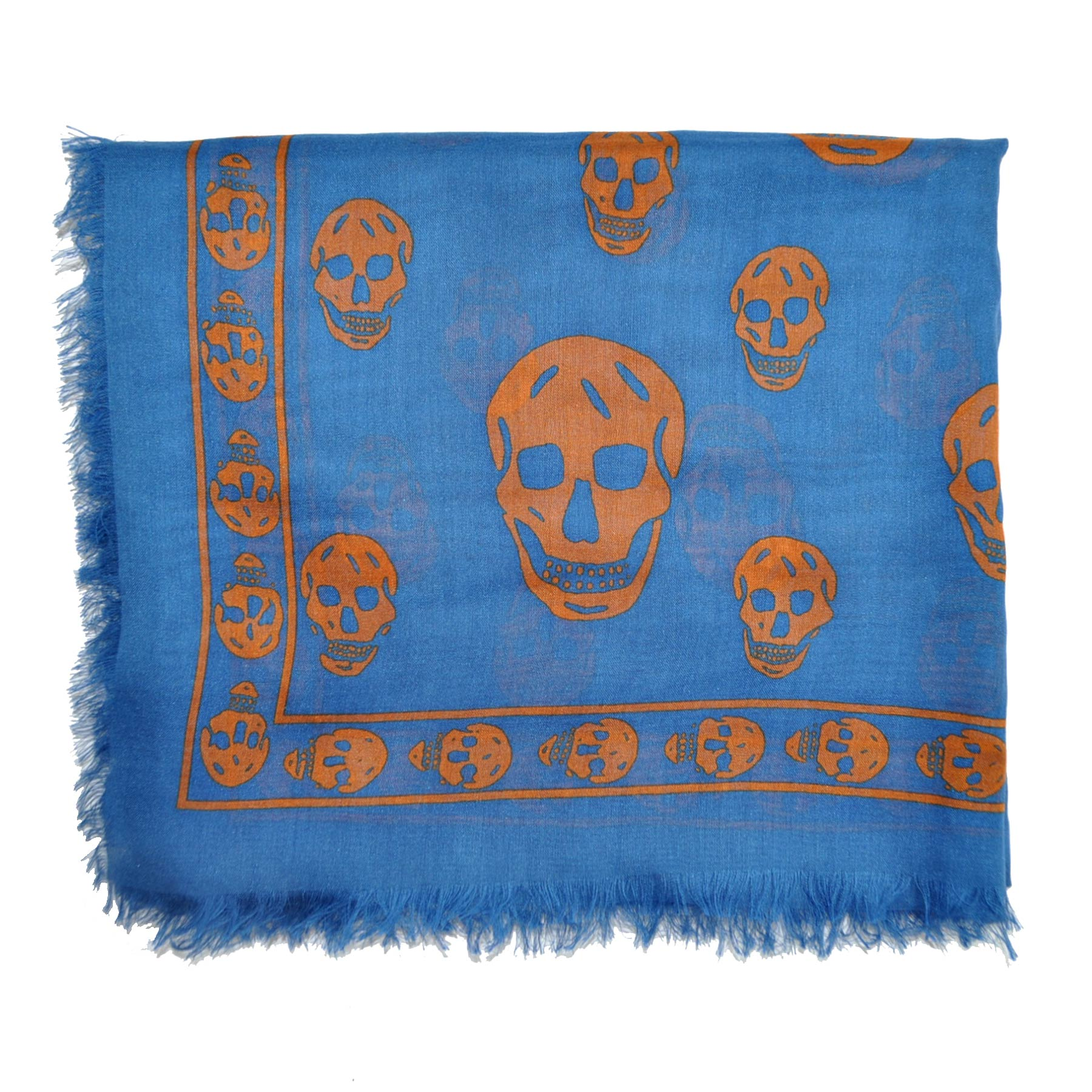 Alexander McQueen Scarf Blue Brown Skulls Genuine