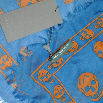 Alexander McQueen Scarf Blue Brown Skulls - Large Silk Blend Scarf FINAL SALE
