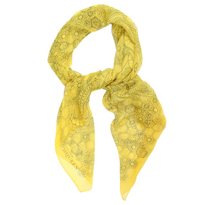 Alexander McQueen Scarf Mustard Yellow Design - Extra Large Square Chiffon Silk Scarf SALE