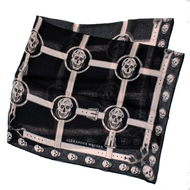 Alexander McQueen Scarf Black Dust Pink Skulls - Extra Large Square Chiffon Silk Wrap