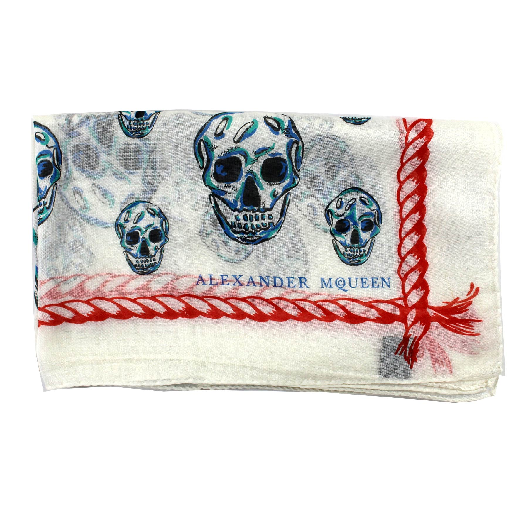 Alexander McQueen Scarf White Skulls - Large Square Cotton Scarf